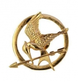 Brož Hunger Games - MOCKINGJAY (zlatá)