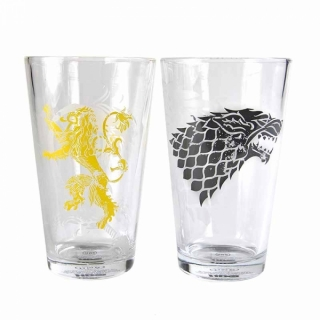 Set 2 sklenice Game of Thrones (Hra o trůny) - Stark a Lannister