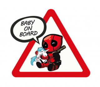 Samolepka (na auto, notebook) Baby On Board - Deadpool