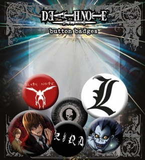 Set 6 placek Death Note (Zápisník smrti)